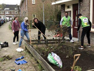 Geslaagde Tuinopknapdag in de Heggerankweg, Amsterdam Noord